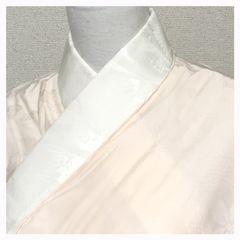 衿花模様 上質 正絹 長襦袢 淡いピンク 花模様 袷 中古品