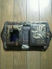 ◇ アンティーク 銅と銀で彫刻細工のタバコ盆セット ◇