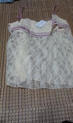 ワコール 透け刺繍ホワイト キャミソール L