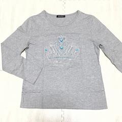 【美品】王冠ストーン柄 丸首長袖Tシャツ/グレー/L/コットン