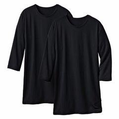 LLサイズ!2枚セット吸湿発熱!ストレッチ!5分袖丈インナーシャツ!黒色