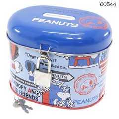 ◆スヌーピー[貯金箱]缶バンク南京錠付きで【ブルー】