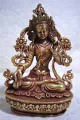 金鍍金製 ホワイトターラー菩薩像 9.1センチ