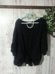 極美*前リボン縛り七分PO*4L*黒 大きいサイズ秋服