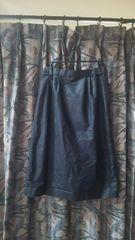 サイド飾りボタンサラサラバックスリット入ひざ下丈タイトスカート