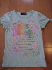 女児トップス半袖Tシャツ♪サイズ120�p♪夏服ブルー系/カラフル蝶々柄