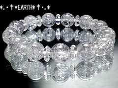 天然石★10ミリ銀色爆裂水晶AAAシルバークラック&ボタン水晶