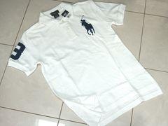 新品L160 ラルフローレン ビッグポニー 半袖ポロシャツ白 14-16