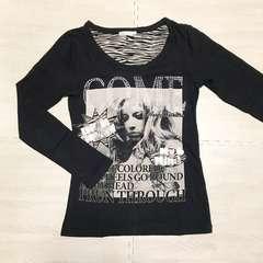 【used】カジュアル ロックテイスト長袖Tシャツ/黒/M