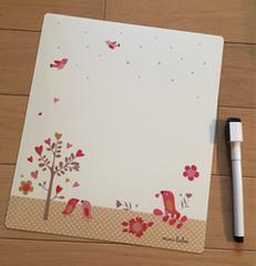 マグネットホワイトボード 小鳥とお花とハート ペン付