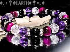 天然石★8ミリアメジスト・オニキス・水晶・ピンクタイガ-アイAAA数珠
