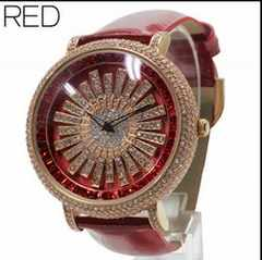 ★大人気★回転スワロフスキー・スピナー腕時計WL2RED