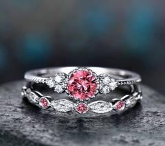 2 ピースセットピンクストーンクリスタルリング・指輪