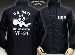米海軍フェリックス・ナイロンスタンドジャケット新品・黒L