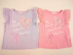 値下げセール新品メゾピアノレースリボン&ビジューのシフォンフリル袖Tシャツ