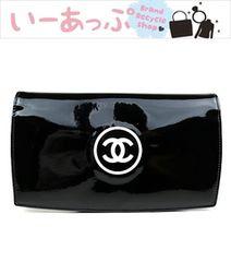 新品同様!シャネル 長財布 エナメル 黒 CHANEL e979