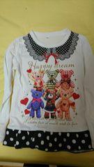 即決☆120�aクマ柄の激カワ長袖Tシャツ