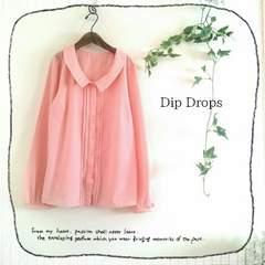 ((Dip Drops/ディップドロップス))2種類ビジュー装飾ふんわりシフォンブラウス