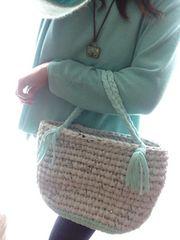 持ち手三つ編み♪スパゲッティバッグ♪ミントグリーン