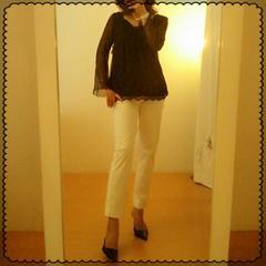 KETTY☆タグ付き袖透けシフォン×レース素敵上品トップス M
