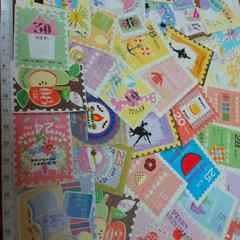 ♪切手風カットシール50枚まとめ売り�K♪雑貨コラージュ・ラッピングなどに♪