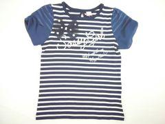 値下げセール新品メゾピアノJrボーダ&ーシフォン袖切り替え半袖Tシャツ