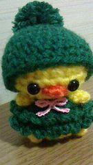 ポンポン帽子ひよちゃんあみぐるみ(緑)