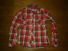 MARBLESマーブルズリバーシブルチェックシャツ38赤系TMT