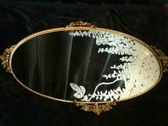 真鍮製 壁掛け ミラー 鏡 姿見 アンティーク骨董品 インテリア
