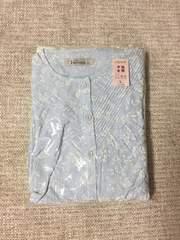 414.新品☆半袖パジャマ☆薄ブルーに白花柄☆サイズL