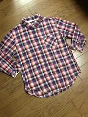 美品RAGEBLUE  7分丈チェックシャツ  レイジブルー