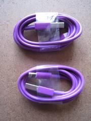 新品 Lightning 転送・充電ケーブル iPhone用 2本【紫】