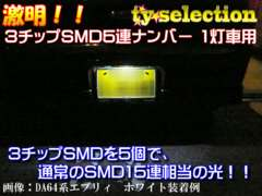 Mオク】パレットMK21S系/1灯車用ナンバー灯全方位照射型15連ホワイト