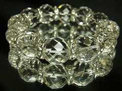 光り輝くパワーストーン 64面ダイヤカット水晶ブレスレット 16ミリ数珠