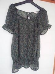 ELLE PLANETE 緑×黒 ペーズリ柄 半袖 チュニック 40 N2m