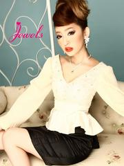 Jewels ペプラム デザイン シフォン プリーツ 2ピース ドレス L