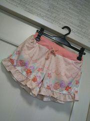M-Lパイル地ショートパンツ裾フリル付きピンク 花柄ハイビスカス