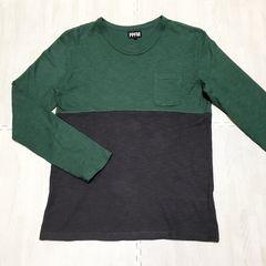 【美品】バイカラー丸首長袖Tシャツ/PPFM/メンズM/緑×濃グレー