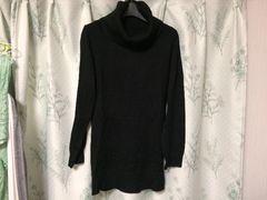 ブラック黒色ロングニットセータータートルネック長袖