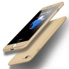 iPone7plus/8plus  360度フルカバー スマホケース【ゴールド