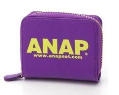 新品ANAP☆ロゴ 二つ折り財布 パープル アナップ