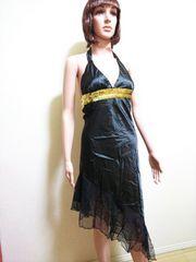 新品☆胸元金スパン&裾シースルーsexyなドレス  D27☆3点で即落