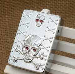 風に強い USBジッポ風ライター ドクロ 骸骨 シルバー 1