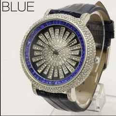 ★大人気★回転スワロフスキー・スピナー腕時計WL2BLU