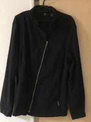 斜めジップ ジャケット ブラック オーバーサイズ 個性派