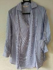 Fabulous新品◆水色×ホワイトストライプシャツ