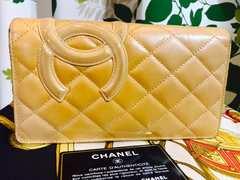 良品シャネルカンボンライン二つ折長財布ベージュオレンジ付属品
