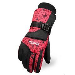 防撥水 防寒 スキー 手袋グローブ レッド