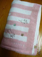 アキコオブチバスタオル猫刺繍Pボーダー柄