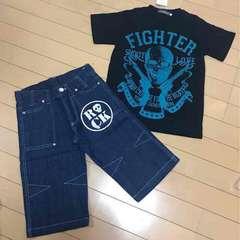 新品◆上下セット◆半袖Tシャツ&デニムハーフパンツ◆160ドクロ
